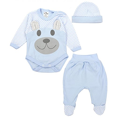 TupTam Baby Kleidung Set Body Strampelhose Mütze Teddybär, Farbe: Blau, Größe: 68