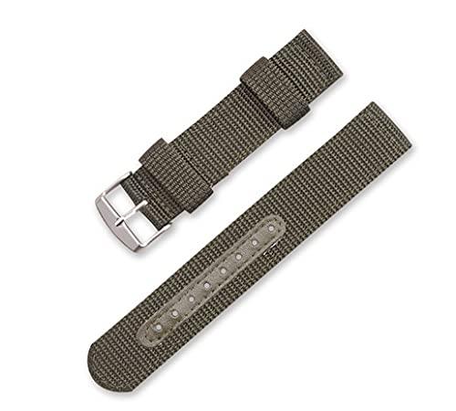 LINMAN Nylon Brown Black Wamkand Correa 18 mm 20 mm 22 mm 24 mm Accesorios de Reloj de Acero Inoxidable para Hombres Banda de Reloj de Mujer (Band Color : Green, tamaño : 24mm)