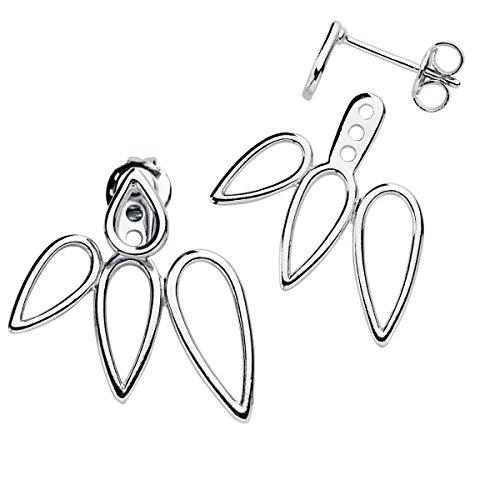 Iyé Biyé Jewels - Pendientes mujer ear jacket hojas caladas plata de ley 925 ajustables cierre de presión