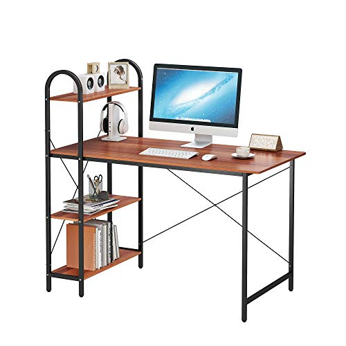 HOMEFORT Computer Desk, Study Writing Desk with Shelves, Multipurpose Home Office Workstation, Student Desk with 4-Tier Wood Bookshelf, Modern Wood PC Table with X Frame (Walnut)