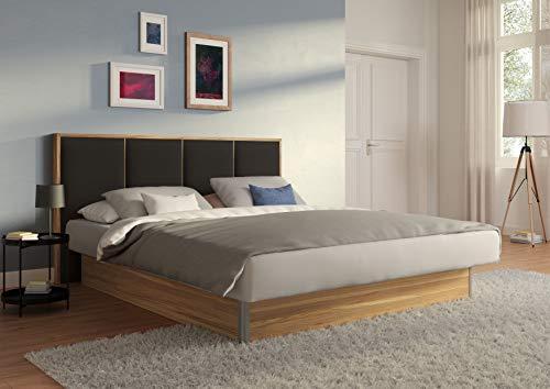 SuMa - Doppel Wasserbett 200x220 dual freistehend m. Sockel Wildeiche und Kopfteil Quaddro, Farbe anthrazit 200x220 cm - 11 Farben wählbar