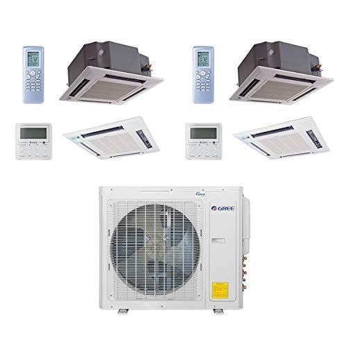 GREE MULTI30CCAS207-30,000 BTU Multi21+ Dual-Zone Ceiling Cassette Mini Split Air Conditioner Heat Pump 208-230V (18-18)