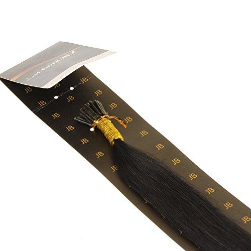 hair2heart 200 x Microring I-Tip Extensions aus Echthaar, 60cm, 1g Strähnen, glatt - Farbe 1 schwarz