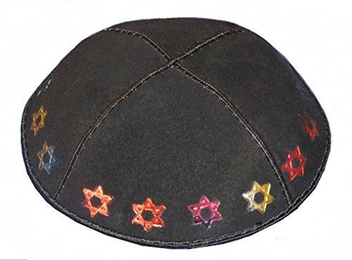 Rimmon Echt Wildleder Kippa, Arbeit für jüdische Kids, mit Star of David in glitzernden Farben auf Schwarz Wildleder