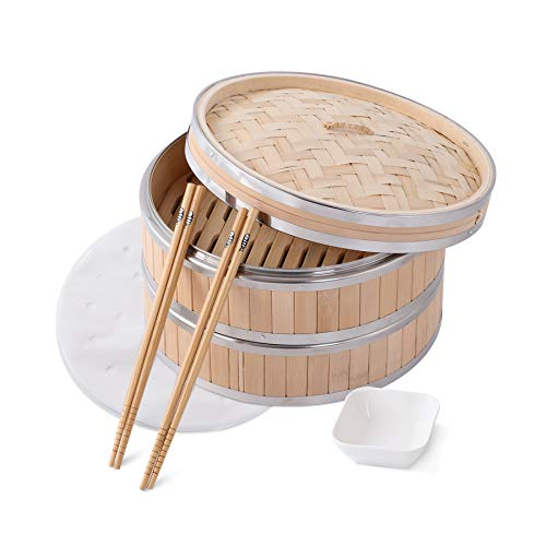Green Science Bamboo Steamer Basket - Premium 2 Tier Food Steamer with Lid - Natural Bamboo Handmade Steamer for Cooking/Veggie/dumplings/Eggs - Steam Cooker, 1 Sauce Dish & 50 Wax Papers Liners