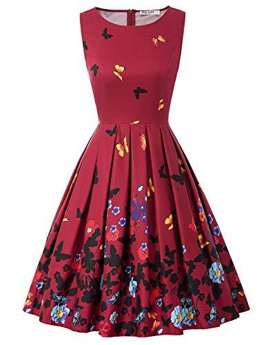 Vestido Mujer Fiesta sin Mangas Estampado de Verano Retro Pin Up L CL010992-8