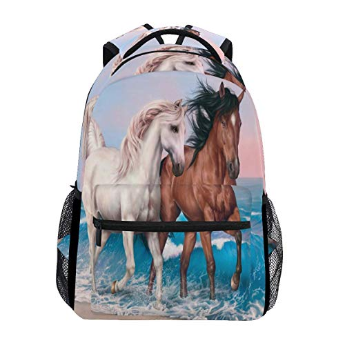 poiuytrew Horses Painting Backpack Students Shoulder Bags Travel Bag College School Backpacks