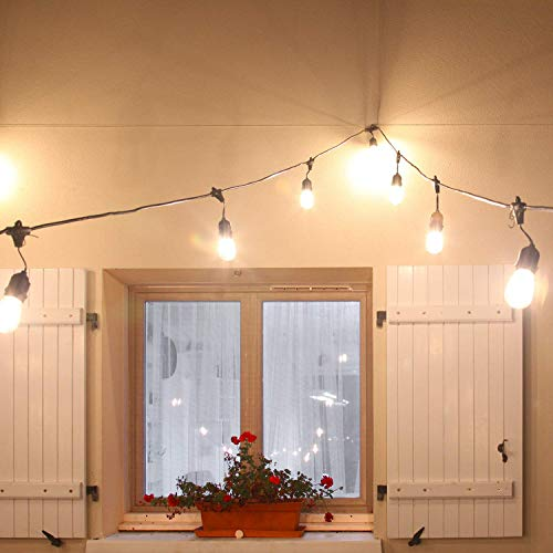 Guirlandes Lumineuses extérieur 15+2PCS LED Ampoules 15 mètres guinguette étanche pour Noël Taverne Jardin Fête Nouvel An A+