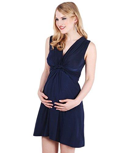 9354-NVY-16: Schwangerschaftskleid Wickelkleid mit Raffung Knoten Schleife (Marineblau, Gr.44)