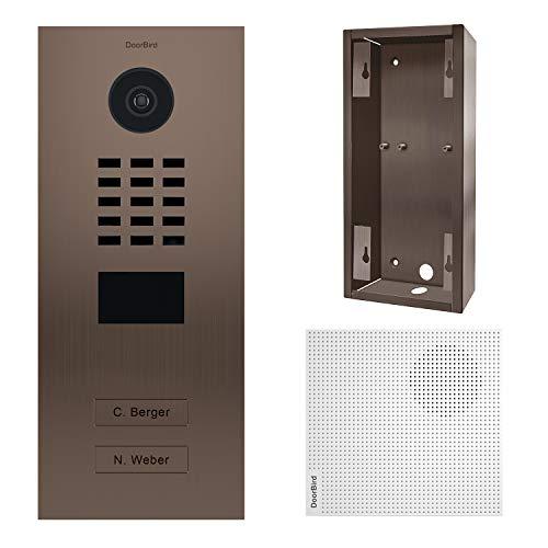doorbird–Kit d2102bv + a1061W + sup-d2102bv-d2103bv–Videoportero (IP 2timbres a Bronze + Timbre y Soporte