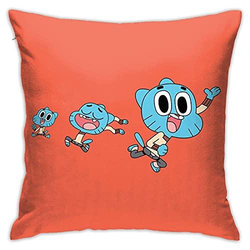 KINGAM Cartoon Amazing World - Funda de almohada de goma súper suave para decoración del hogar con cremallera invisible, 45,7 x 45,7 cm.