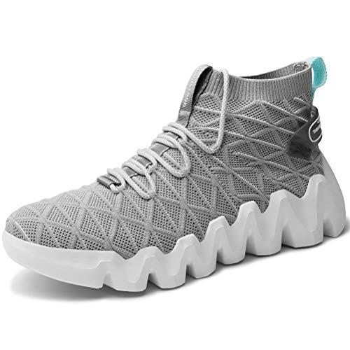 XIDISO Men's Fashion Sneakers Slip on Sock Sneakers Indoor Outdoor Walking Fitness Jogging Footwear Grey