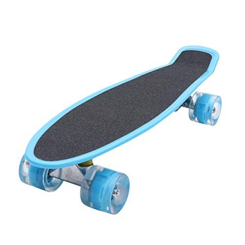 BESPORTBLE 56Cm Sport Skateboard Kleine Stumpfe Polnische Allrad Cruiser Skateboard Leuchtend Leuchtendes Skateboard Spielzeug für Kinder Kinder Himmelblau