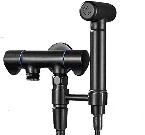 SLRMKK Hand Held Bidet Sprayer,Hand Held Bidet Bidet Taps Toilet Hose Bidet Sprayer Toilet Sprayer Kit Best Personal Sanitary Shower Set - Dual-Use Dual-Outlet Washing Machine Faucet Black