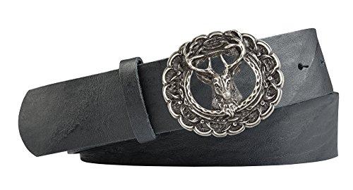 Unbekannt Hirsch-Motiv Trachten-Leder-Gürtel mit Druckknopfriemen für Wechselschliessen Vollrindleder Farbe schwarz