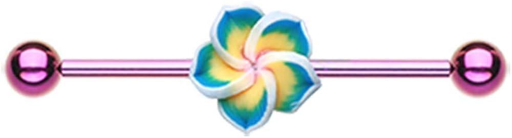 Hawaiian Plumeria Flower Stainless Steel Industrial Barbell