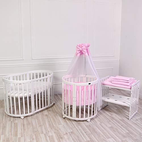 ComfortBaby SmartGrow 7 in 1 Komplett 12-teilig Babyausstattung Set Weiß Pink, Kinderbett, Laufgitter, Beistellbett, Bettwäsche Set, Matratze, Wickeltisch, Stühle und Kindertisch