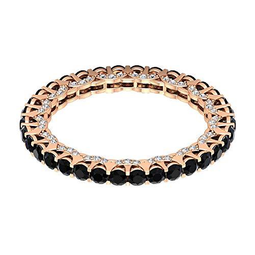 Anillo de eternidad de ónix negro de 1,39 ct, anillo de novia de diamante HI-SI, anillo de compromiso de 2 mm de corte redondo, anillo de boda de oro macizo, 18K Oro rosa, Size:EU 67