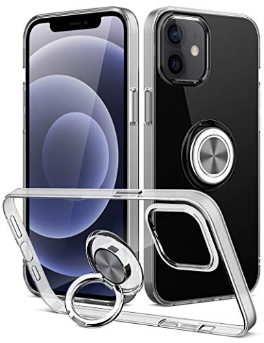 iMangoo Compatible with iPhone 12 Pro Case Ring Holder Phone Cover Designed for iPhone 12 Case 5G Kickstand Anti-Drop Grip Slim Shell Soft Shockproof Bumper Flexible Protective Phone Cases Clear