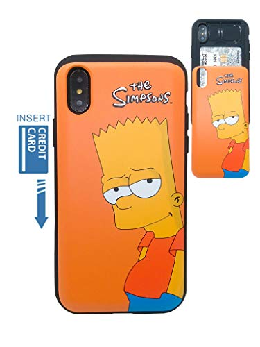 [iPhone XR Wallet Case] KUBRICK Card Holder Slide Cover Simpson Animation Bumper Phone Case Dual Layer Protection UV Printing (Bart Simpson)
