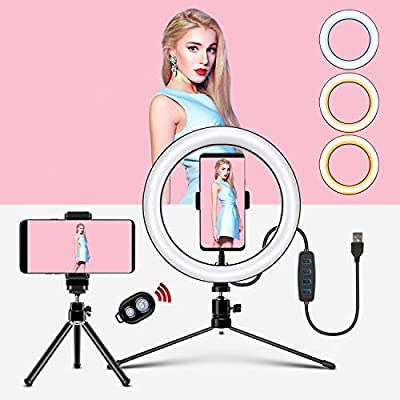 "Selfie Ring Light for Live Streaming & YouTube Video & Makeup, Dimmable LED Multi-Styles Lighting Kits for 3.5"" 6"" 10"" 14"" 18"" Ringlight with 3 Light Modes & 10 Brightness Levels (Black) by Renoster"