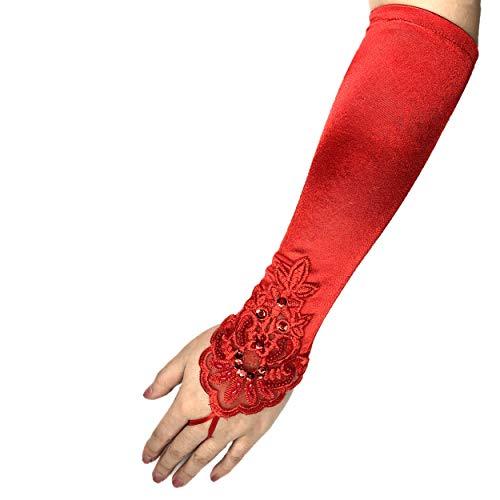 PANAX Edle Damen Handschuhe aus elastischem Satin mit Spitze und Perlen - Stulpen Rot in Einheitsgröße für Frauen, Hochzeit, Oper, Ball, Fasching, Karneval, Tanzen, Halloween …