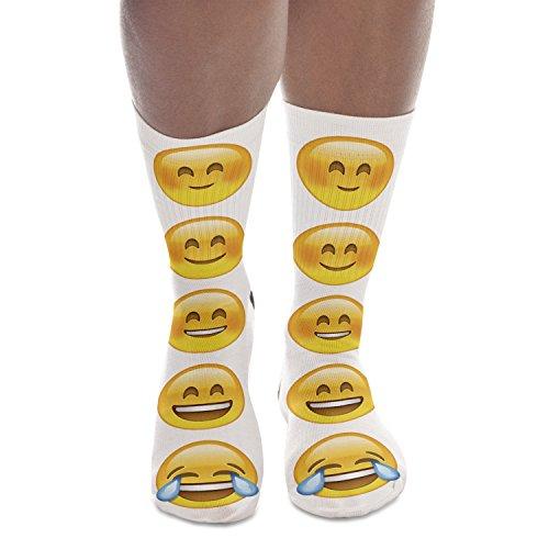 Fringoo Calcetines altos totalmente impresos para hombre y mujer, diseño de emoticones, moda para adolescentes