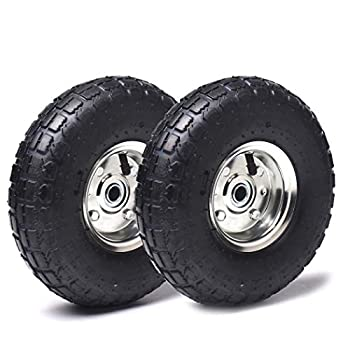 2 Pack  AR-PRO 10  Heavy-Duty Replacement Tire and Wheel - 4.10/3.50-4  with 10  Inner Tube 5/8  Axle Bore Hole 1 3/4  Offset Hub and Double Sealed Bearings for Hand Trucks and Gorilla Cart