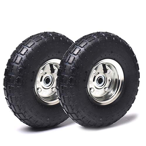 (2 Pack) AR-PRO 10' Heavy-Duty Replacement Tire and Wheel - 4.10/3.50-4' with 10' Inner Tube, 5/8' Axle Bore Hole, 1 3/4' Offset Hub and Double Sealed Bearings for Hand Trucks and Gorilla Cart
