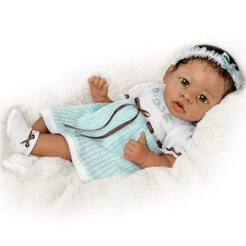 Alicias Gentle Touch Curls Her Hand Around Your Finger So Truly Real Lifelike, Interactive & Realistic African-American Newborn Baby Doll 22-inches by The Ashton-Drake Galleries