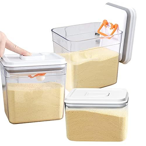 CLOVE Contenedores herméticos de almacenamiento de alimentos para armario de cocina (juego de 3) contenedores apilables sin BFA, almacenamiento de alimentos secos, apto para lavavajillas
