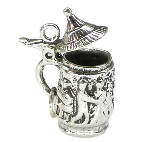 Boccale da birra con coperchio, apertura in argento sterling 925 con charm a bere SSLP1360 x 1