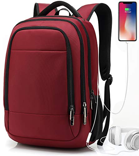 Rucksack Damen für Schule Uni Reisen Freizeit Job mit Laptopfach und Anti Diebstahl Tasche,Wasserdicht Oxford 32L(rot)