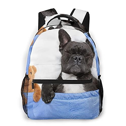 Mochila de viaje para computadora portátil,perro bulldog francés con dolor de cabeza y resaca durmiendo en la cama con un osito de peluche juntos,mochila para computadora antirrobo agua para empresas