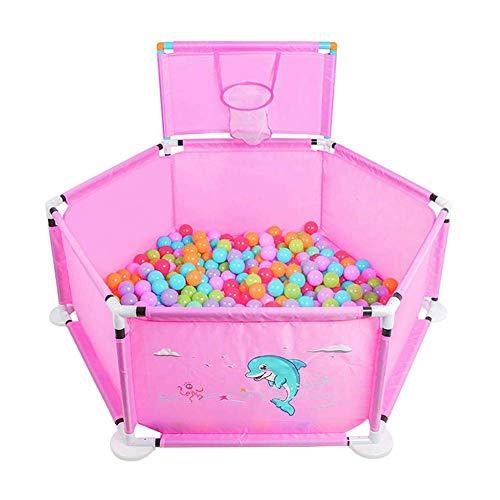FFYN Baby Playpen Portable, Patio de Juegos para bebés, Centro de Actividades de Seguridad y Valla de Juegos para niños, Valla para niños con aro de Baloncesto, para Interiores y Exteriores