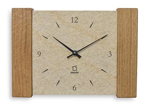 Natuhr Reloj de pared de cuarzo para mesa de madera de roble y piedra arenisca, silencioso, color crema/roble ahumado