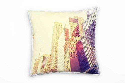 Paul Sinus Art City, New York, Manhattan, Coussins décoratifs pour canapé ou Salon Jaune 40 x 40 cm, Microfibre, Jaune, Bezug Ohne Füllung