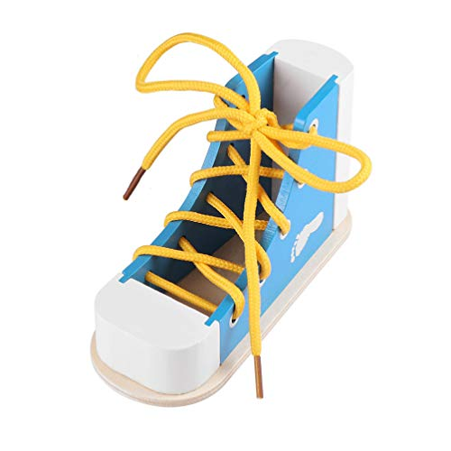 NUOBESTY Learn to Tie Shoes Wooden Lacing Shoe Toy Shoelaces Tying Toy Teaching Kit for Kids, Blue
