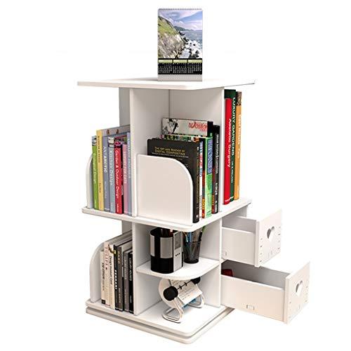 Bibliothèques rangement de bureau simple petite bibliothèque Etagère rotative créative bibliothèque blanche d'étudiant (Color : Blanc)