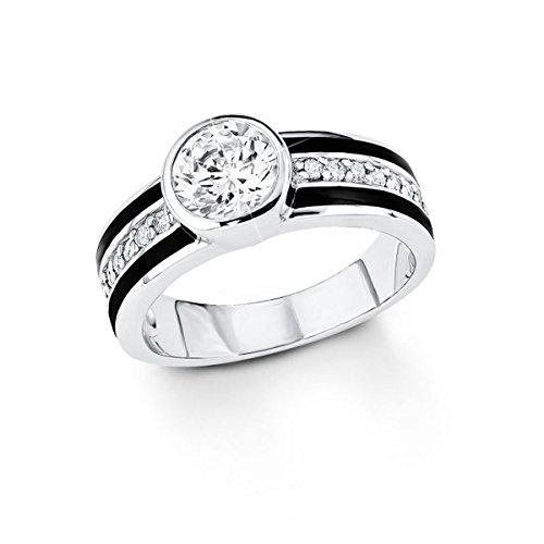 S. Oliver Damen-Ring 925 Silber Emaille Zirkonia weiß Gr. 54 (17.2) - 490078