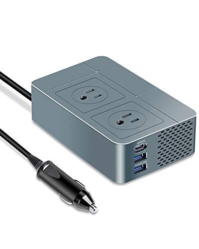 Pure Sine Wave Inverter by KOOSLA, 300W Power Inverter [𝟲𝟬𝗪 𝗣𝗗 𝗨𝗦𝗕-𝗖] for Car DC 12V to AC 110V Car Plug Adapter Outlet