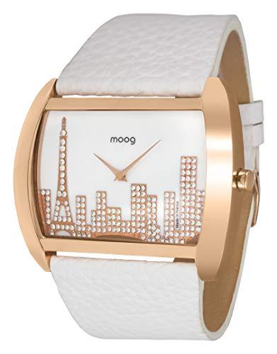 Moog Paris Skyline Reloj para Mujer con Esfera Nácar Blanca, Correa Blanca de Piel Genuina y Cristales Swarovski - M41882-102