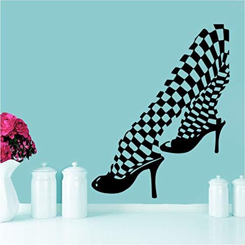 Wuyii Muurtattoos Meisjes voeten panty schoenen mode slaapkamer vinyl sticker decor