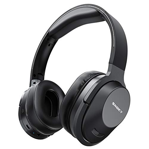 Wireless Headphones, Snoky Bluetooth 5.0 Headphones Hi-Fi Stereo Deep Bass 26H Playtime Foldable Over Ear Headphones with Microphone Wireless Headset for Cell Phone Online Class Home Office TV Black