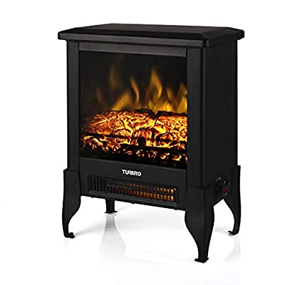 "TURBRO Suburbs TS17 Compact Electric Fireplace Heater, Freestanding Stove Heater with Realistic Flame - CSA Certified - Overheating Safety Protection - for Small Spaces - 17"" 1400W"