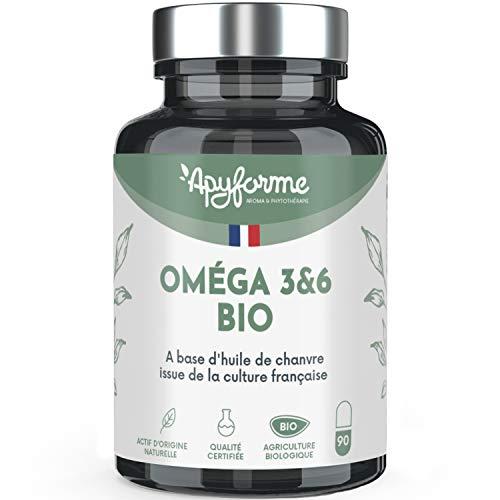 Apyforme - Omega 3 et 6 BIO et VEGAN - A base d'Huile de Chanvre - Sans Huile de Poisson - 100% Végétal - 90 Gélules - Fabriqué et Cultivé en France