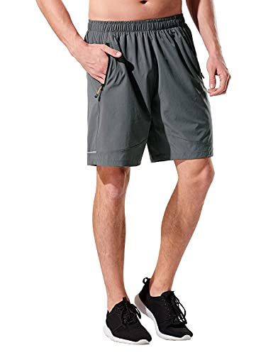 KPSUN Men's 7 inches Running Athletic Shorts Quick Dry Workout Gym Shorts with Zip Pocket Grey