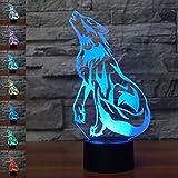 Jinson well 3D Wolf Nachtlicht Lampe optische Nacht licht Illusion 7 Farbwechsel Touch Switch Tisch Schreibtisch Dekoration Lampen perfekte Weihnachtsgeschenk Acryl Flat ABS USB Spielzeug