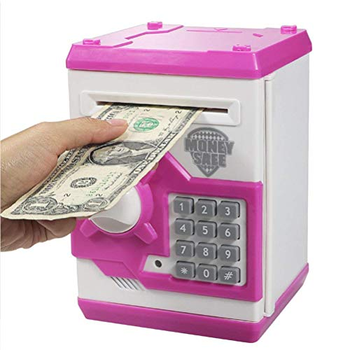 iPhyhe Cash Coin Saving Piggy Bank Electric ATM Money Safe Box with Password Combination Lock Toy Gift for Kids and Adults - Pink and White