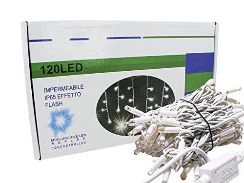 Tenda Luminosa Luci Led Natale Da Esterno Professionali 120 Luci Led Grande 3 Metri Effetto Cascata 24 Tende Di Diversi Lunghezza IP65 Prolungabile (Bianco Caldo Giallo)